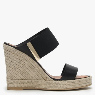Daniel Cartell Black Leather Two Bar Wedge Espadrilles
