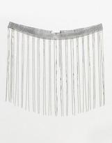 Asos Design DESIGN fringe rhinestone waist and hip belt in silver