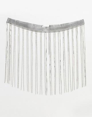 Asos DESIGN fringe rhinestone waist and hip belt in silver
