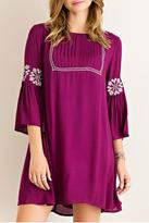 Entro Plum Embroidered Dress