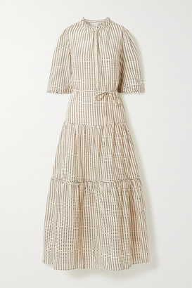 Apiece Apart Alta Tiered Polka-dot Organic Cotton-twill Maxi Dress - Ecru