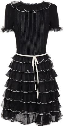 Gucci Tiered Pointelle-knit Silk Dress
