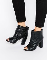 Missguided Quilted Peep Toe Ankle Boot