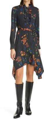 Tory Burch Cora Floral Long Sleeve Handkerchief Hem Shirtdress