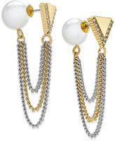 ABS by Allen Schwartz Two-Tone Imitation Pearl and Chain Front and Back Earrings