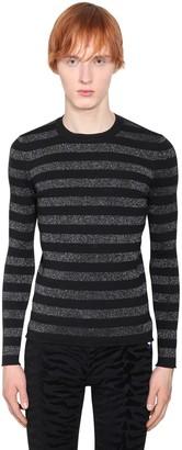 Saint Laurent Striped Lurex Wool Sweater