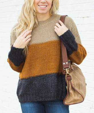 Olivia & Jane Women's Pullover Sweaters Rust - Rust & Charcoal Color Block Sweater - Women