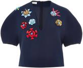 DELPOZO Flower Embellished Cropped Blouse