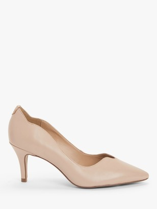 John Lewis & Partners Allina Wavy Top Line Mid Heel Court Shoes, Nude