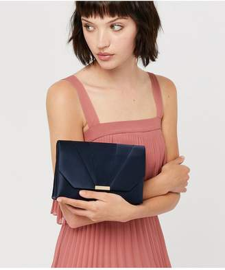 Accessorize Louise Satin Clutch Bag - Navy