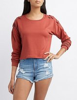 Charlotte Russe Lace Detail Cropped Sweatshirt