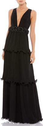 Mac Duggal V-Neck Sleeveless Tiered A-Line Dress