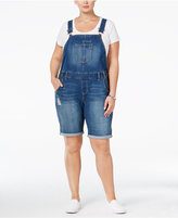 American Rag Trendy Plus Size Ripped Denim Shortalls, Only at Macy's