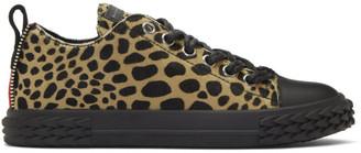 Giuseppe Zanotti Black and Tan Animal Print Blabber Low-Top Sneakers