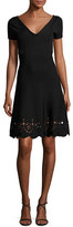 RED Valentino Short-Sleeve Scalloped Eyelet-Trim Dress, Black
