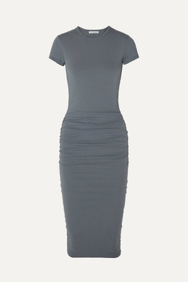 James Perse Draped Stretch-cotton Jersey Midi Dress - Gray