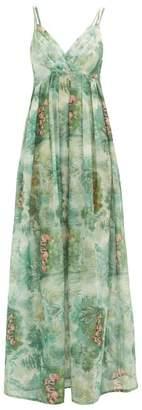 La Costa Del Algodón La Costa Del Algodon - Juliette Flamingo-print Cotton-muslin Nightdress - Womens - Green Print