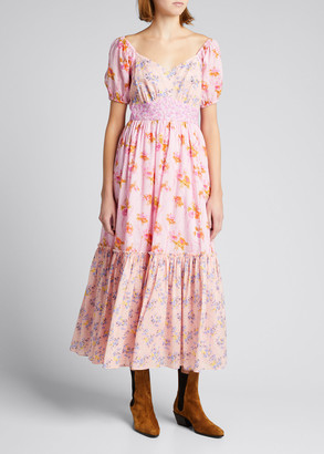 LoveShackFancy Angie Floral-Print Tiered Maxi Dress