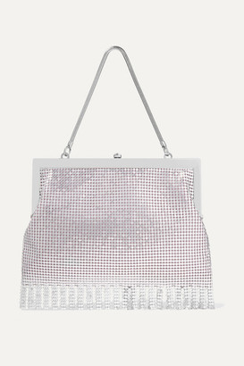 HVN Zoe Fringed Chainmail Tote - Silver