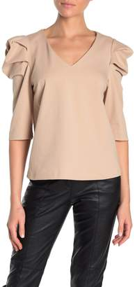 Ontwelfth Puffed Sleeve V-Neck Blouse
