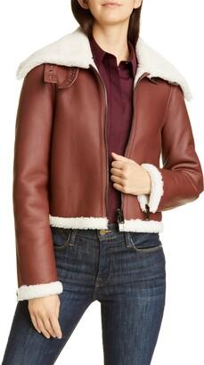 Theory Crop Genuine Shearling Jacket