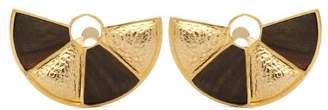 Joelle Gagnard Kharrat - Peacock Wood And Gold-plated Brass Earrings - Womens - Brown