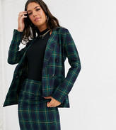 Parisian Tall tailored longline double breasted blazer in green check