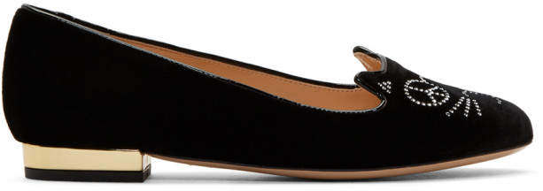Charlotte Olympia Black Peace Kitty Loafers