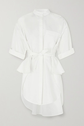ARTCLUB - Florican Tie-detailed Cotton Peplum Shirt - White