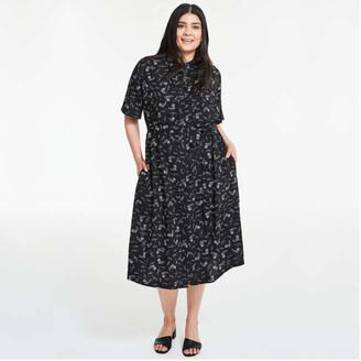 Joe Fresh Women+ Chest Pocket Shirt Dress, Print 2 (Size 2X)