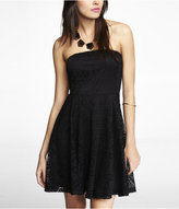 Express Strapless Geometric Lace Skater Dress