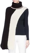 Sonia Rykiel Colourblock asymmetric chunky rib knit turtleneck poncho