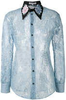 Melampo - embroidered peony lace shirt - women - Cotton/Nylon/Silk/Polyester - 40
