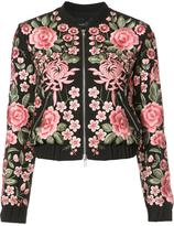 Needle & Thread roses embroidery bomber jacket