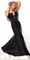 Mac Duggal Beaded Strapless Color Block Evening Dress