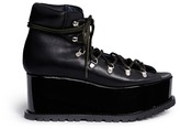 Sacai Open vamp patent leather platform mountain boots