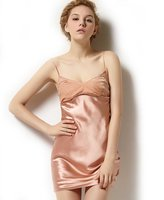 Sangluo Women's Pure Silk Essentials Classic Sexy Chemise Nightgown X-Small