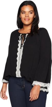 Karen Kane Women's Plus Size LACE Sleeve TOP