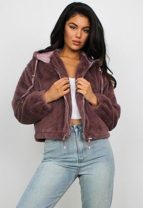 Missguided Petite Pink Faux Fur Hooded Bomber Jacket
