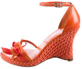 Christian Dior Bow-Accented Woven Wedges