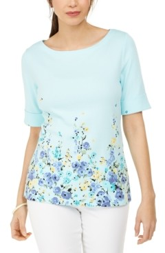 Karen Scott Floral-Print Elbow-Sleeve Boat-Neck Top, Created for Macy's