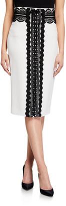 ZUHAIR MURAD Mona Lace-Trim Pencil Skirt