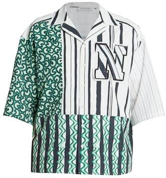 Neil Barrett Mixed-Print Baseball Shirt