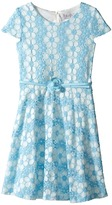 Us Angels Daisy Lace Cap Sleeve Dress w/ Belt & Full Skirt (Big Kids)