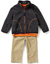 Nautica Baby Boys 12-24 Months Polar Fleece Solid Jacket, Striped Knit Tee & Twill Pant Set