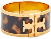 Tory Burch Tortoise Raised Logo Wide Cuff Bracelet
