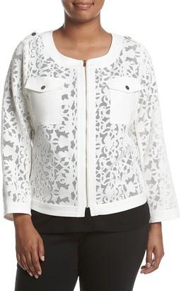 Jones New York Women's Plus Size Cropped Lace Jacket