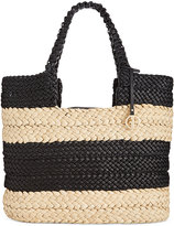 Giani Bernini Striped Straw Tote, Only at Macy's