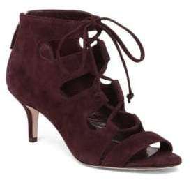 Delman Tryst Suede Lace-Up Booties