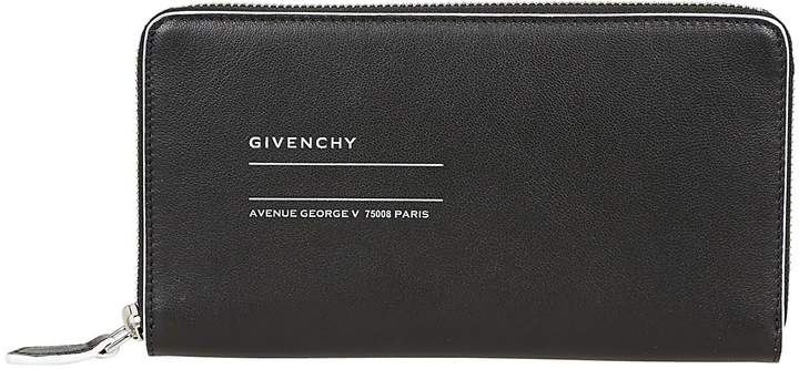 Givenchy Logo Print Zip Around Wallet